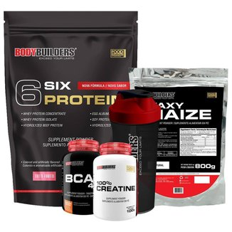 Kit Six Protein 2kg + BCAA 100g + Creatine 100g + Waxy Maize 800g + Coqueteleira - Bodybuilders