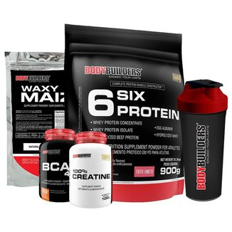 Kit Six Protein 900g + BCAA 100g + Creatine 100g + Waxy Maize 800g + Coqueteleira - Bodybuilders
