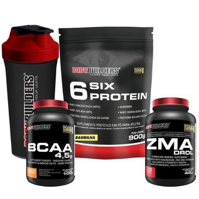 Kit Six Protein 900g + BCAA 1800 120 caps + ZMA Elements 100 caps + Coqueteleira Bodybuilders