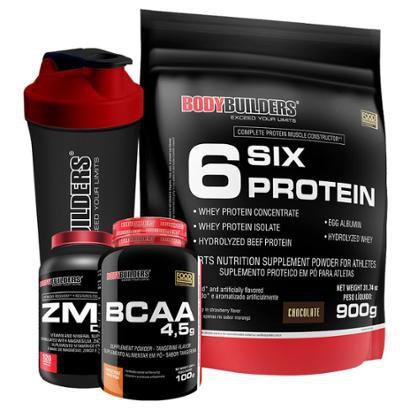 Kit Six Protein 900g + BCAA 1800 120 caps + ZMA Elements 100 caps + Coqueteleira Bodybuilders