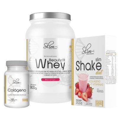 Kit Slim Beuty Fit Whey 900g + Shake Diet 300g + Colágeno 100 caps – Slim