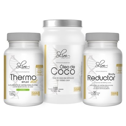 Kit Slim Óleo de Coco 100 caps + Body Reductor 30 softgel + Thermo em pó diet 120 g – Slim