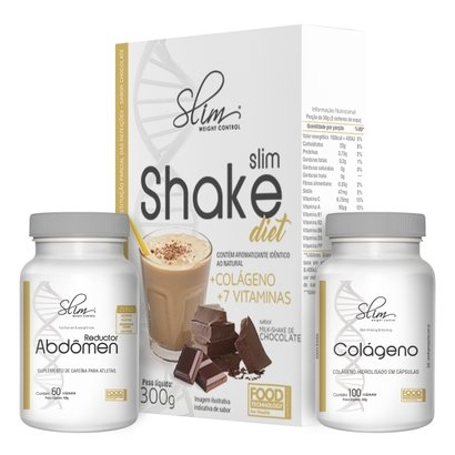 kit Slim Shake Diet 300g + Reductor abdômen 60 caps + Colágeno 100 caps – Slim