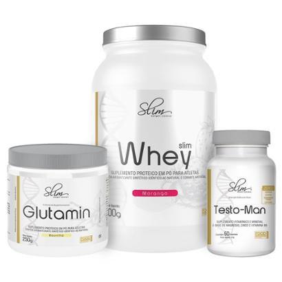 Kit Slim Whey 900g + Testo-man 60 Cáps + Glutamin 250g – Slim