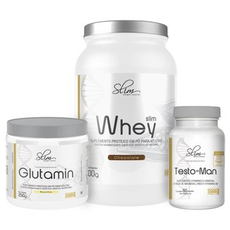 Kit Slim Whey 900g + Testo-man 60 Cáps + Glutamin 250g - Slim