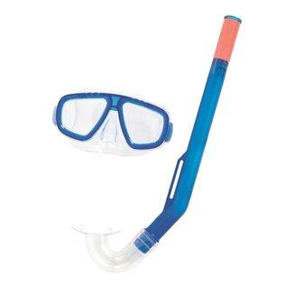 Kit snorkel com máscara infantil Fundive Bestway para mergulho totalmente ajustável e compacto Azul