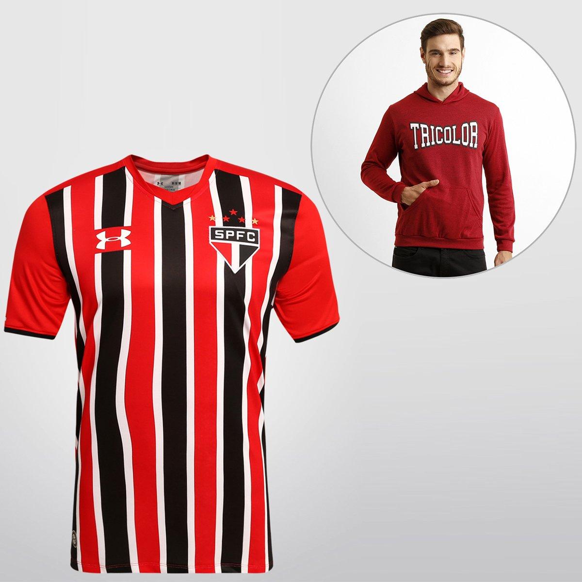 be6ecfed345 Kit SPFC - Camisa Under Armour São Paulo II 15 16 s nº + Blusão College - Compre  Agora