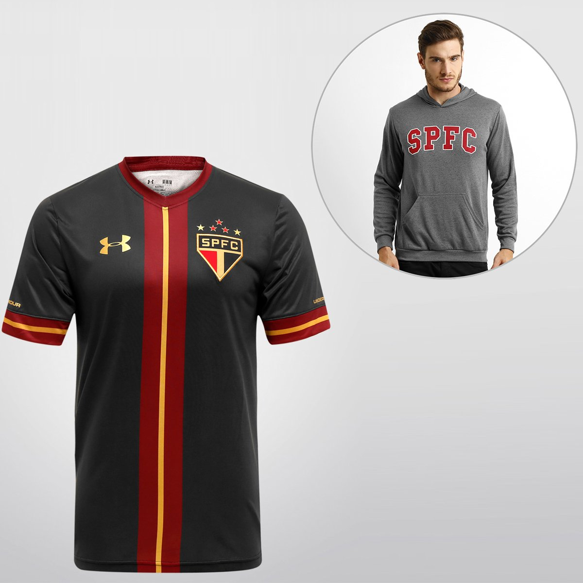 140521890c Kit SPFC - Camisa Under Armour São Paulo III 15/16 s/nº + Blusão College |  Netshoes
