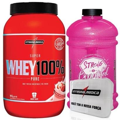 Kit – Super Whey 100% + Galão Rosa – Integralmédica