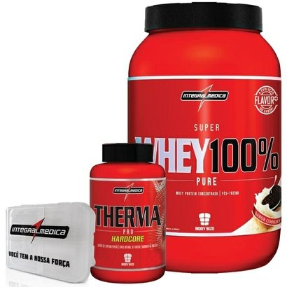 Kit - Super Whey 100% + Therma Pro HardCore + Porta Caps - Integralmédica