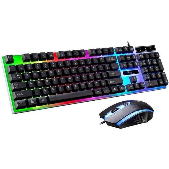 Kit Teclado e Mouse Gamer com Fio - Preto