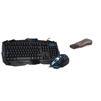 Kit Teclado e mouse Gamer com Hotkeys LED   + Pen drive 8Gb USB
