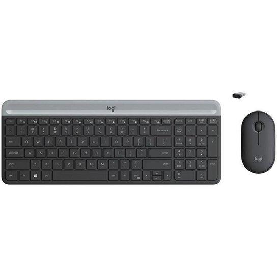 Kit Teclado e Mouse sem Fio Logitech MK470 - Cinza