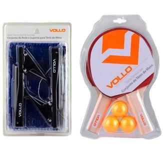 Kit Tênis de Mesa Vollo 2 Raquetes 3 Bolas com Rede Nylon Table Tennis