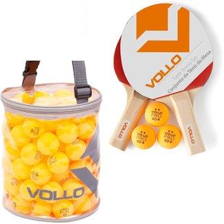 Kit Tênis de Mesa Vollo 2 Raquetes com 100 Bolas Table Tennis