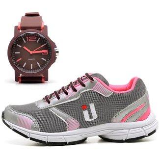 Kit Tênis Fitness Feminino Caminhada + Relógio