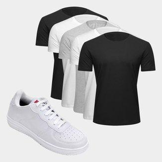 Kit Tênis Force Saxxon Masculino + Camiseta Básica Masculina C/ 5 Peças Tamanho M