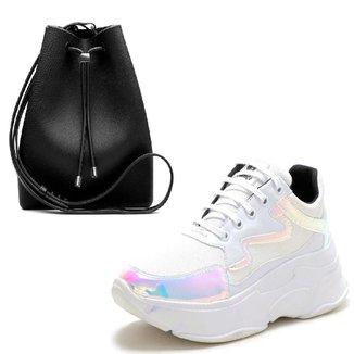 Kit Tênis Sneaker Com Bolsa Sacola Unissex Conforto