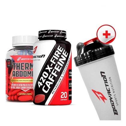 Kit Termogênico Thermo Abdomen + Cafeína 420mg + Coqueteleira Bodyaction