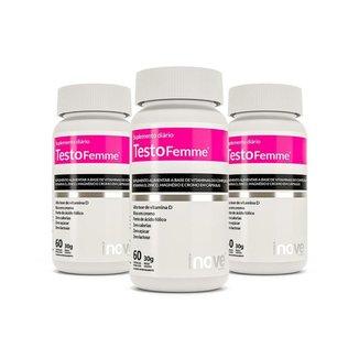 Kit Testofemme® Fórmula Feminina – Inove Nutrition® - 3 potes c/ 60 cápsulas cada