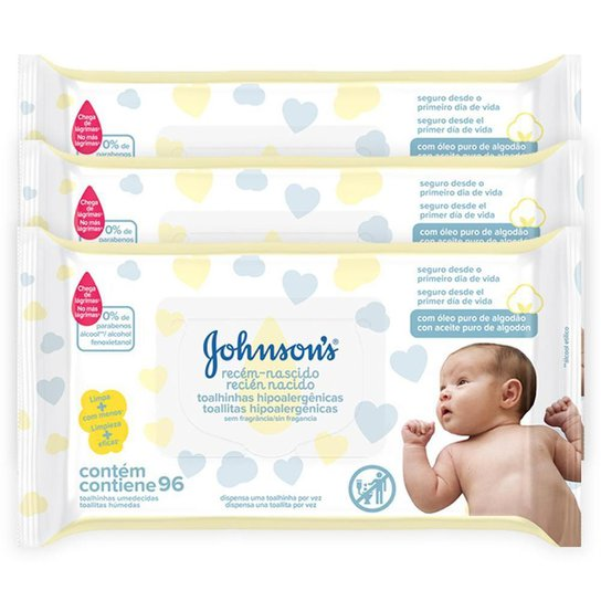 Kit Toalhinhas Recém-Nascido Johnson's 288 unidades - Única