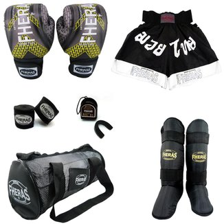 Kit Top - Luva Bandagem Bucal Caneleira Shorts Bolsa
