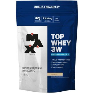Kit Top Whey 3W 1,8kg Max Titanium Baunilha + Creatine Powder 150g Optimum Nutrition