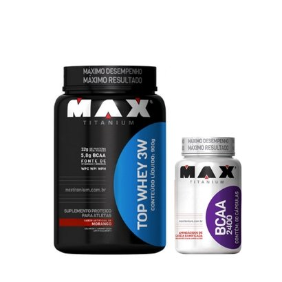 Kit Top Whey 3W 900 G + Bcaa 2400 60 Cáps – Max Titanium