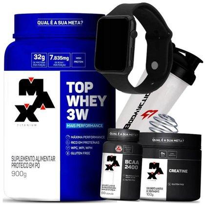 Kit Top Whey 3W + Creatina + Bcaa + Relógio + Coqueteleira - Max Titanium