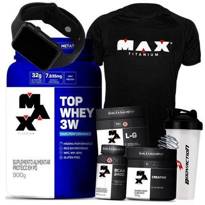 Kit Top Whey 3W + Glutamina + Bcaa + Creatina + Camisa de Treino + Relógio - Max Titanium