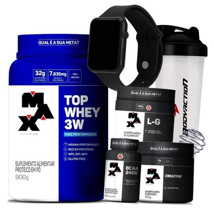 Kit Top Whey 3W + Glutamina + Bcaa + Creatina + Relógio + Coq - Max Titanium