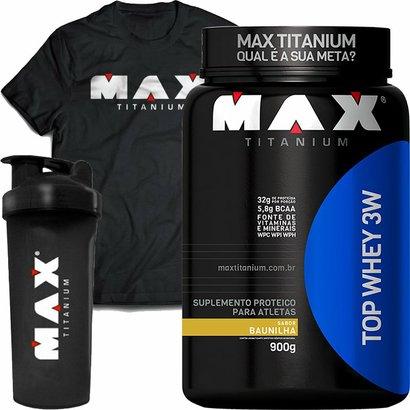 KIT TOP WHEY 3W MAX TITANIUM 900g - Baunilha + Camisa + Coqueteleira