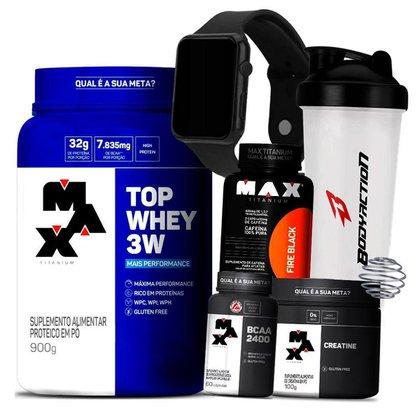 Kit Top Whey 3W + Termogenico c/ Cafeína + Creatina + Bcaa + Relógio + Coq - Max Titanium