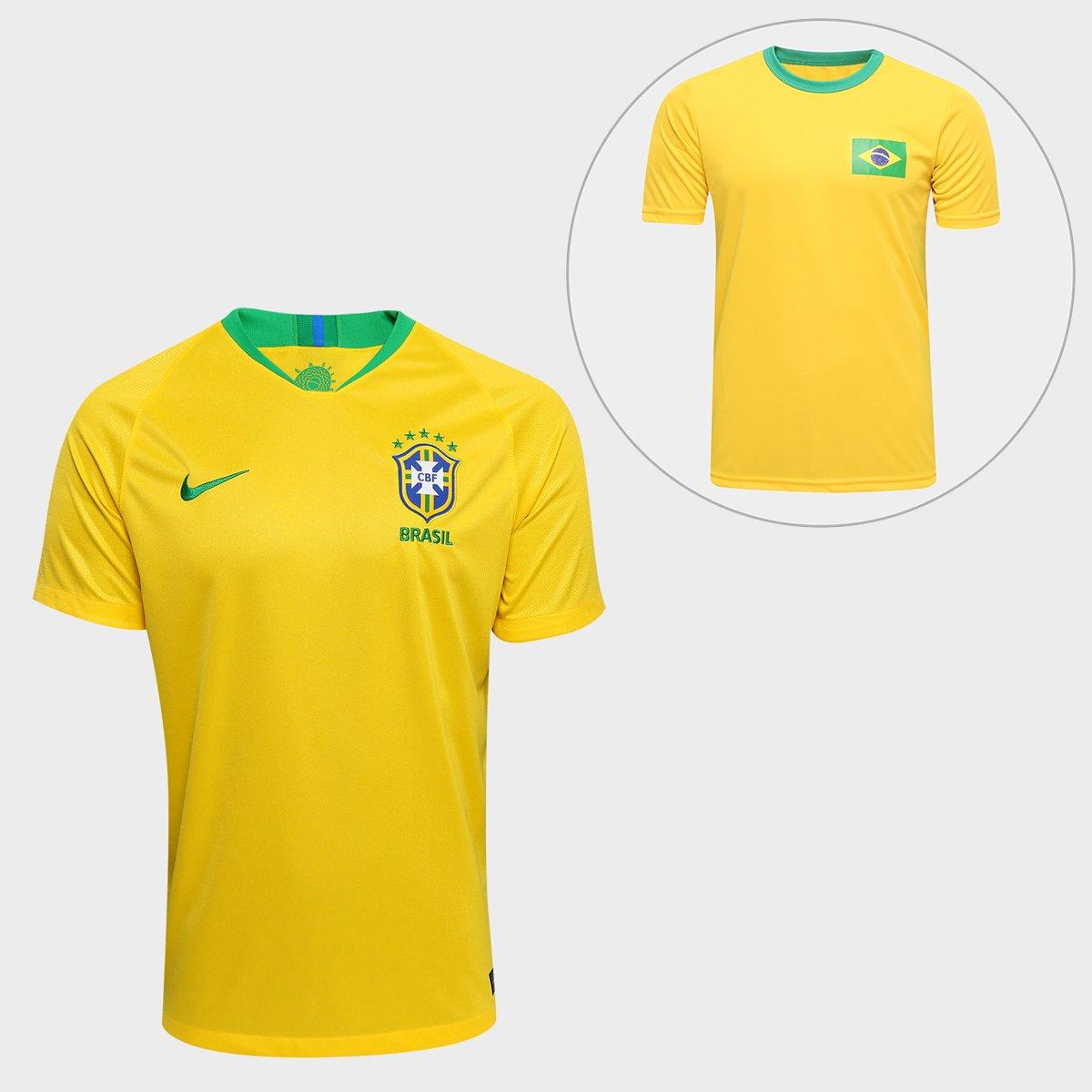 Kit Torcida Brasil - Camisa Nike Seleção Brasil I 2018 s nº + Camisa  Torcedor - Compre Agora  9a6d0511323cb