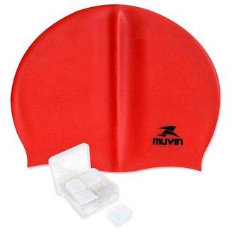 Kit Touca de Natação em Silicone Standard + Protetor de Ouvido Silicone Muvin