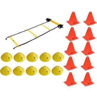 Kit Treinamento Funcional Odin Escada de Agilidade + 10 Cones +  10 Chapéu Chinês