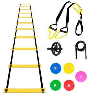 Kit Trx Escada Agilidade Chapeu Chinês Roda Abdominal Dvds - Amarelo |  Netshoes