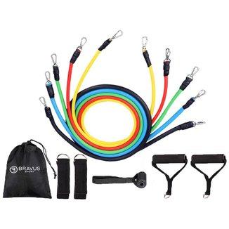 Kit Tubing Basic Elástico Extensor 11 peças + Disco de Deslizamento + 5 Mini Bands Bravus Sport