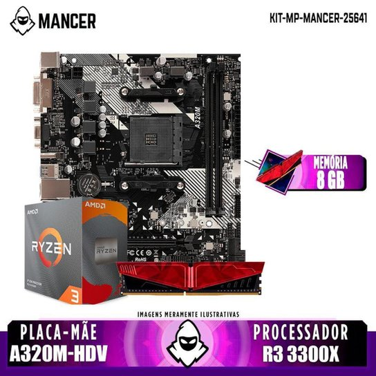 Kit Upgrade, AMD Ryzen 3 3300X, A320M-DHV, 8GB DDR4 - Preto