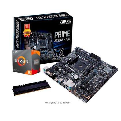 Kit Upgrade AMD Ryzen™ 5 3600 + Asus PRIME A320M-K/BR + Memória 8GB DDR4