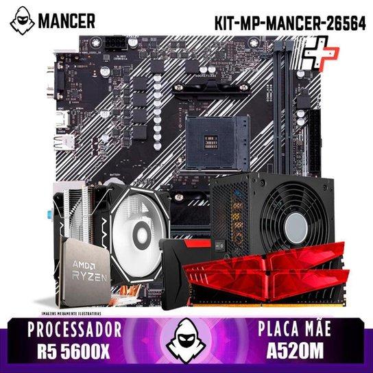 Kit Upgrade, AMD Ryzen 5 5600X, Cooler Corax, A520M, 16GB DDR4, SSD 240GB, 600W - Preto