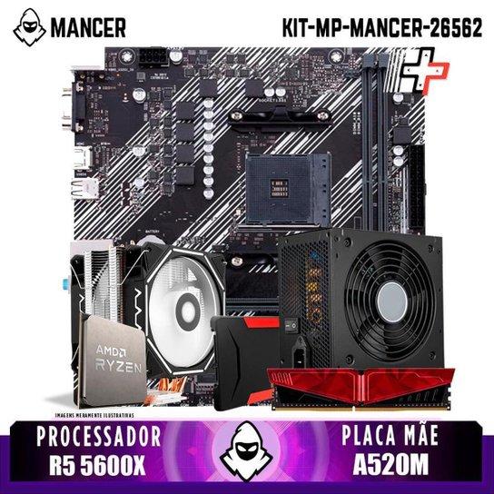 Kit Upgrade, AMD Ryzen 5 5600X, Cooler Corax, A520M, 8GB DDR4, SSD 240GB, 600W - Preto