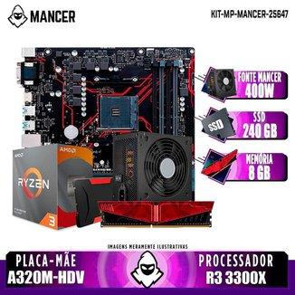 Kit Upgrade Plus, AMD Ryzen 3 3300X, A320M-HDV, 8GB DDR4, SSD 240GB, 500W Mancer