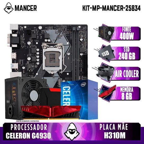 Kit Upgrade Plus, intel Celeron G4930, H310M, 8GB DDR4, SSD 240GB, 400W - Preto