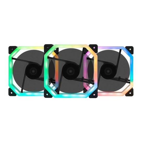 Kit Ventoinhas Mancer Ventus RGB 3x120mm + Controladora, MCR-VTRGB-01 - Preto
