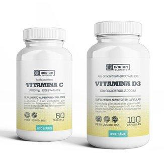 Kit Vitamina C 1000MG + Vitamina D3 2000UI - Iridium Elements