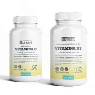 Kit Vitamina C 1000MG + Vitamina D3 2000UI - Iridium Elements