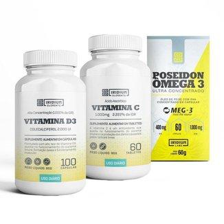 Kit Vitamina C + Poseidon Ômega 3 + Vitamina D