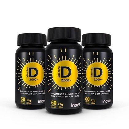 Kit Vitamina D 2.000 ui - 3 Potes - 60 cápsulas cada - Ganhe 1 Copo c/ Canudo Inove Nutrition