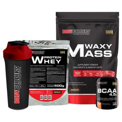 Kit Waxy Mass 3 Kg + Whey Protein 454 G + BCAA 4800 120 Cáps + Coqueteleira – Bodybuilders